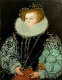 1580 Mrs John Croker, née Frances Kingsmill (c.1564–c.1627) by George Gower (attributed to) Oil on panel, 89.9 x 68.6 cm Collection: Victoria and Albert Museum