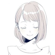 anime pink cute girl smile aesthetic art edit by sofiahalbof - anime girl short hair drawing Anime Girl Drawings, Manga Drawing, Drawing Sketches, Art Drawings, Drawing Ideas, Drawing Girls, Sketch Ideas, Anime Hair Drawing, Pencil Sketching