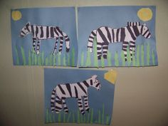 zebra crafts for kids. They cut out the stripes, sun and grass to their liking.