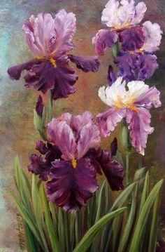 We present: Ulubone irises - Małgorzata Mutor. One of the many paintings by Małgorzata Mutor. Iris Painting, Acrylic Painting Flowers, Acrylic Art, Watercolor Flowers, Watercolor Paintings, Art Floral, Iris Art, Flower Artwork, Iris Flowers