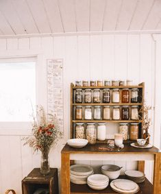 separate pantry/dish storage but still open. glassware in upper cupboards