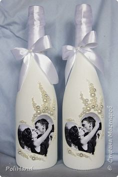 Свадебные бутылки с фотографией Авторская студия декора PoliHand  фото 1