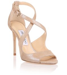 Emily 100 beige shimmer suede sandal from Savannahs