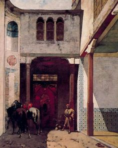 'Visiting The Mosque', Oil by Alberto Pasini (1826-1899, Italy)