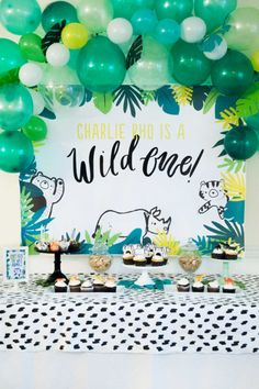 Wild One First Birthday Printable Party Decorations DOWNLOAD Baby Boy