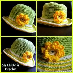 Isn't this the cutest? I can see a little girl in a sundress wearing this. [How to crochet the brim of a sun hat?  Free pattern by MyHobbyIsCrochet ] #crochet #crafts