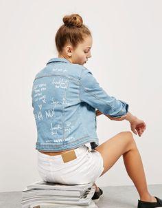 Denim jacket with text on back - Jackets - Bershka Romania