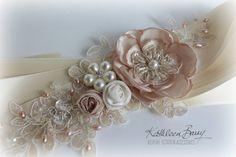 Hey, I found this really awesome Etsy listing at https://www.etsy.com/listing/219313423/r750-wedding-dress-sash-belt-floral-with