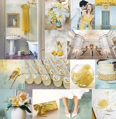 mustard yellow and pale turquoise blue