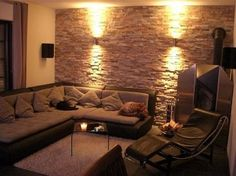 """Design apartment - make walls look like a """"stone wall""""? optics) Just how? Wall in wall look – (design, craftsman, wall) Living Room Tv, Home And Living, Deco Design, Apartment Design, Bedroom Wall, Living Room Designs, Interior Design, Home Decor, Material"""