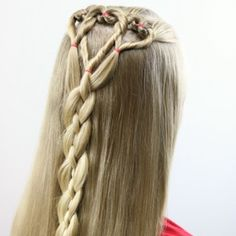 Amazing Half Up-Half Down Hairstyles For Long Hair - Triple Hearts and Braid Valentine's Day Hairstyle - Easy Step By Step Tutorials And Tips For Hair Styles And Hair Ideas For Prom, For The Bridesmaid, For Homecoming, Wedding, And Bride. Try An Updo Or Down Hairstyles For Long Hair, Valentine's Day Hairstyles, Haircuts Straight Hair, Classic Hairstyles, Little Girl Hairstyles, Braided Hairstyles, Short Haircuts, Hairstyle Ideas, 4 Strand Braids