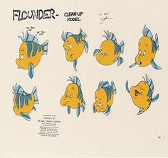 The Little Mermaid Concept Art.   Flounder is such a guppy!  Art from the special edition The Little Mermaid DVD.