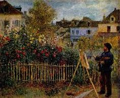 A Renoir painting: Claude Monet painting in his Garden at Argenteuil,wadaworth Connecticut.