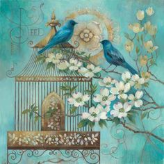 Blue Birds and Dogwood Láminas por Elaine Vollherbst-Lane en AllPosters.es