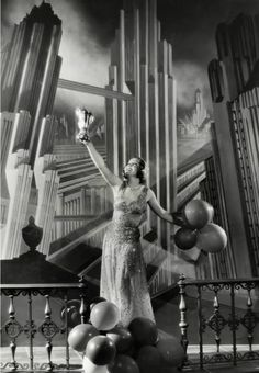 "Nancy Carroll on Art Deco film set ""Child of Manhattan"" Casa Art Deco, Art Deco Stil, Art Deco Era, Nancy Carroll, Art Nouveau, Lilies Of The Field, Art Deco Bedroom, Streamline Moderne, Art Deco Design"