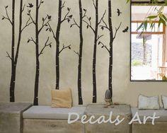 Woods - Vinyl wall sticker- wall decal- tree decals- wall murals art - nursery wall decals- Tree - Bird -Nature. $79.00, via Etsy.