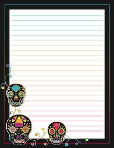 Free printable colorful sugar skull stationery for x 11 paper. Available in JPG or PDF format and in lined and unlined versions. Stationary Printable Free, Printable Lined Paper, Free Printables, Fall Clip Art, Tattoo Lettering Fonts, Cute Notebooks, Stationery Paper, Stationery Design, Note Paper