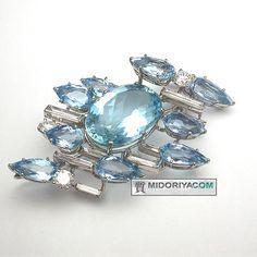 Cartier aquamarine brooch Pt950