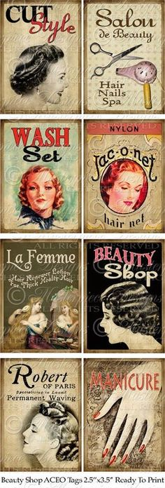 Accessorize your next mixed-media project with these vintage-inspired beauty shop ACEO tags by Jamie Shires Moore — available for instant download on e-Crafting.com!: