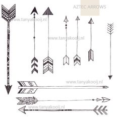 Hand Drawn Aztec Arrows in PNG and JPEG, High Resolution 300 DPI