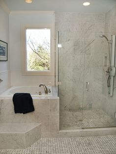 Corner Tub Shower Combo Bathroom Traditional with Basketweave Carrera Tile Ceiling