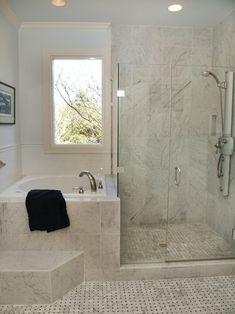 Corner Tub Shower Combo Bathroom Traditional with Basketweave Carrera Tile Ceiling