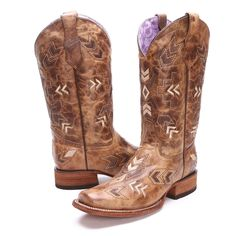 Rock the trendy aztec style with these BootDaddy Collection with Circle G Womens Arrowhead Square Toe Cowgirl Boots! These ladies' cowboy boots, availiable exclusively at PFI Western Store, feature BootDaddy leathers in beautifully distressed brown and tan that you can't find anywhere else.