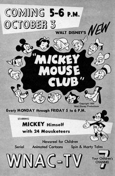 Ad for Walt Disney's The Mickey Mouse Club, 1955.
