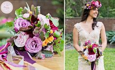 The vibrant choice of color by CJH designs makes the floral crown and bouquet stand out beautifully. As seen on BRIDE.Canada