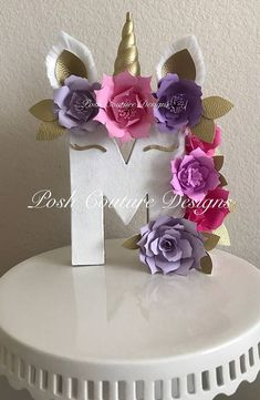 Unicorn Floral Letters/ Unicorn Letters/ Unicorn Photo Prop/ Unicorn Centerpiece/ Unicorn Decoration/ Unicorn Baby shower/ Unicorn Nursery ~~~~~~Only Seen At Posh Couture Designs~~~~~ ~~~~~~~~Designed Exclusively ~~~~~~ By Posh Couture Designs How beautiful & magical is this