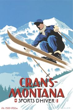 PEL119: 'Crans-Montana: Airborne Skier' - by Charles Avalon - Vintage travel posters - Winter Sports posters - Art Deco - Pullman Editions