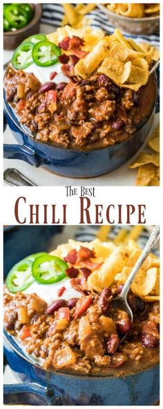 How to make the BEST Chili Recipe! Everyone raved about thi… How to make the BEST Chili Recipe! Everyone raved about this one! Chilli Recipes, Top Recipes, Bean Recipes, Mexican Food Recipes, Dinner Recipes, Cooking Recipes, Healthy Recipes, Cooking Chili, Cooking Corn