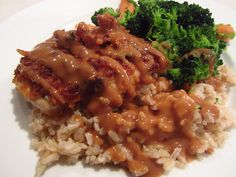 Crispy Peanut Butter Chicken!   Always love this on a Chinese Buffet, hard to find though. Not sure I'd put the sauce all over, but maybe toss the chicken in it!