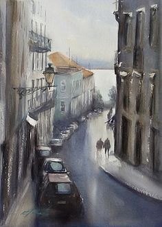 Lisbon, Portugal II by Keiko Tanabe Watercolor ~ 11 1/2 x 8 1/4 inches (29 x 21 cm)
