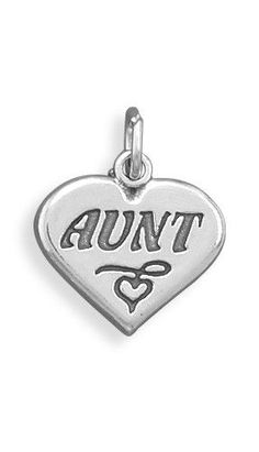 """Oxidized Heart Charm with """"Aunt"""""""
