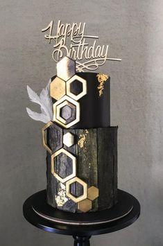Elegant birthday cake in black & gold cake … - Birthday Cake Easy Ideen Elegant Birthday Cakes, Birthday Cakes For Men, Elegant Cakes, Birthday Cupcakes, Tiered Birthday Cakes, 70th Birthday Cake, Harry Birthday, Black And Gold Birthday Cake, Black And Gold Cake