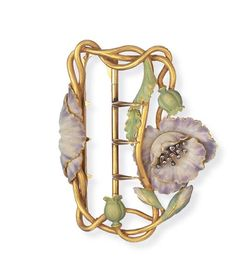 AN ART NOUVEAU ENAMEL AND DIAMOND BUCKLE   Designed as a textured gold wirework plaque, enhanced by a lavender enamel flower, with rose-cut diamond cluster pistil, to the green enamel leaves and buds, mounted in 18k gold, circa 1900, with French assay marks and maker's mark  With maker's mark for Aucoc Fils