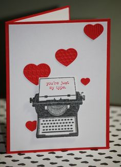 One Handmade Valentines Day Card Happy by strandedpaper on Etsy