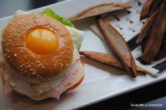 Ca bouffe un Doberman: Burger façon crêpe complète et frites de blé noir