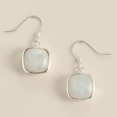 One of my favorite discoveries at WorldMarket.com: Silver Moonstone Square Drop Earrings
