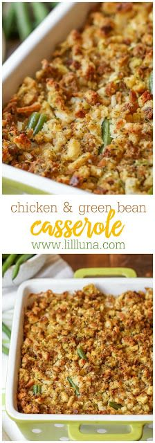 Chicken and Green Bean Casserole - a delicious casserole filled with green beans, chicken, cream cheese, and chicken broth, topped with stuffing mix!! A staple at holiday gatherings!   #casserole #recipes #chicken