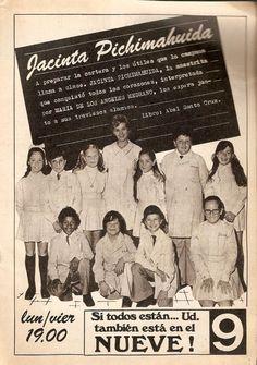 Publicidad del programa de TV, JACINTA PICHIMAHUIDA, Canal 9, Buenos Aires, década del 70.