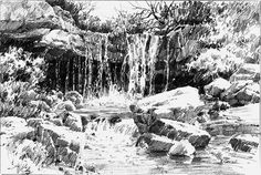 Preparatory drawing for a full sheet watercolor. I had to do some re-arranging in the foreground and background, so I worked it up as a completed drawing. graphite pencil on stonehenge paper 8 X 11 inches. Landscape Pencil Drawings, Landscape Sketch, Landscape Art, Landscape Paintings, Landscape Design, Waterfall Drawing, Drawing Sketches, Art Drawings, Realistic Eye Drawing