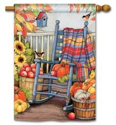 Add fall decorative house flags by BreezeArt Flags to add eye-catching color and…