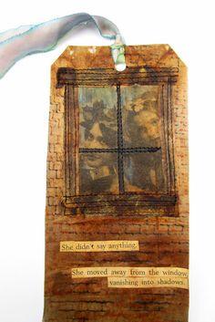 Windows Art Tag by Wilma Simmons 2016, Tea bag art - tea bags, coloured pencil, photo transfer, book text, machine  stitching.
