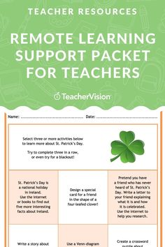 Download this exclusive teacher resources packet, filled with teacher tips, tools and strategies, as well as a myriad of printables, including assessment forms and choice boards for your students (grades K-12) to use in your remote learning lessons.