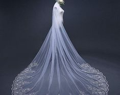 Bridal veil,Wedding veil,Lace soft veil,Long veil with comb,Length can be customized