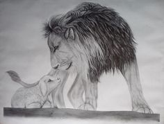 Lion and lamb in pencil