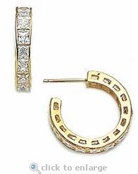 Ziamond Cubic Zirconia Princess Cut Channel Set Hoop Earrings In 14k yellow gold.  The Sadia Princess Cut Channel Set Cubic Zirconia Hoop Earrings include the finest hand cut and hand polished original Russian formula cubic zirconia. #ziamond #cubiczirconia #hoops #earrings #princesscut #14kgold