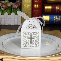 $9.93 | 50pcs Jesus Christian Cross Laser Cut Candy Boxes With Ribbon Wedding Favor Bags Sweet Box Baby Shower Party Decoration